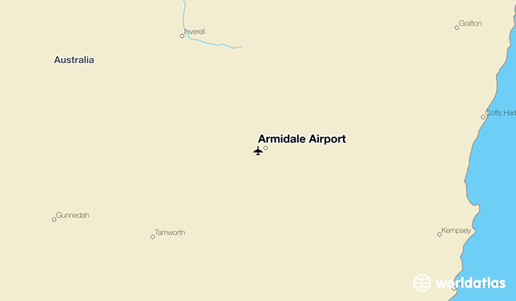 Armidale Airport location on a map