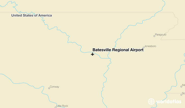 Batesville Regional Airport location on a map