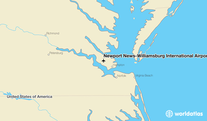 Newport News-Williamsburg International Airport location on a map
