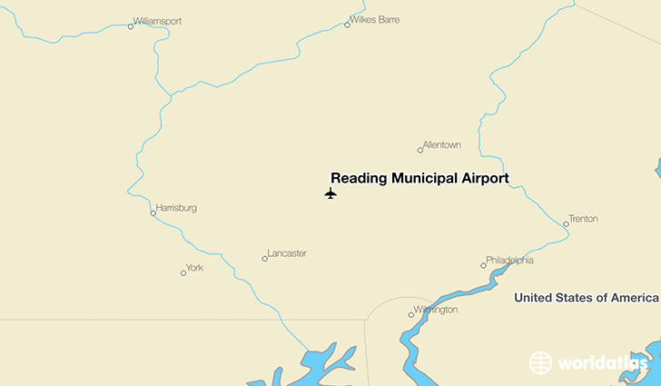 Reading Municipal Airport location on a map