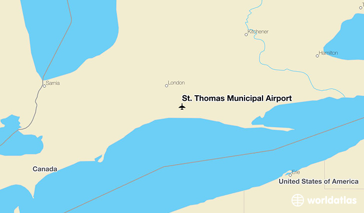 St. Thomas Municipal Airport location on a map