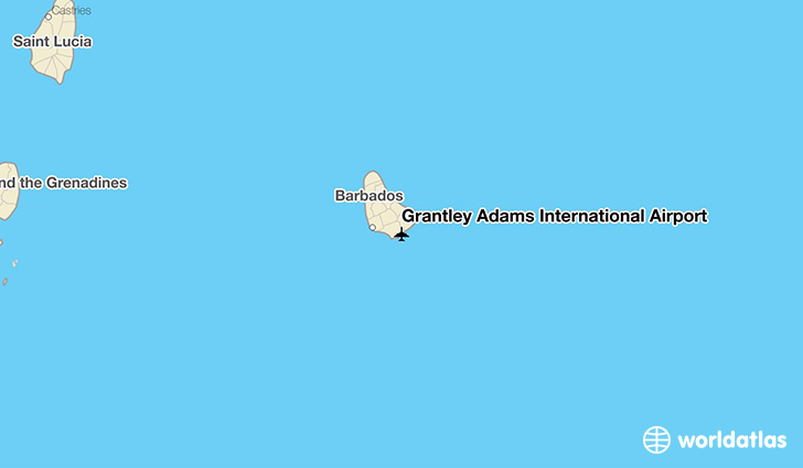 Grantley Adams International Airport location on a map