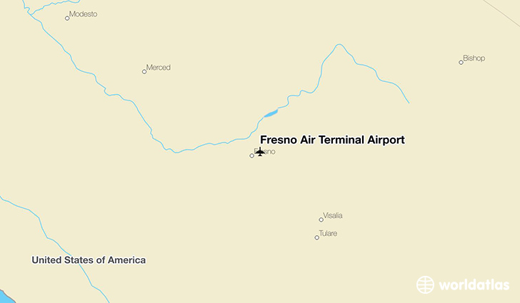 Fresno Air Terminal Airport location on a map