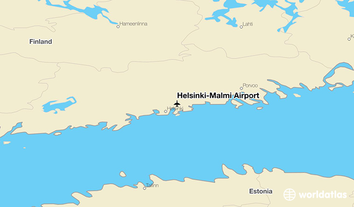 Helsinki-Malmi Airport location on a map