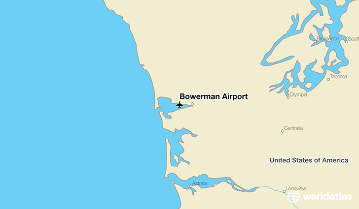 Bowerman Airport location on a map