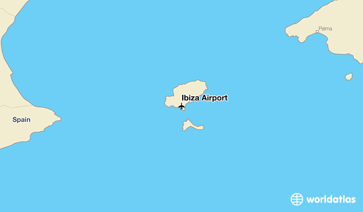 Ibiza Airport location on a map