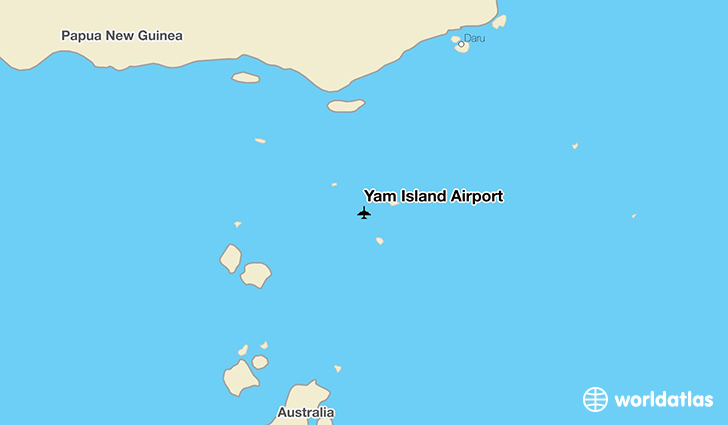 Yam Island Airport location on a map