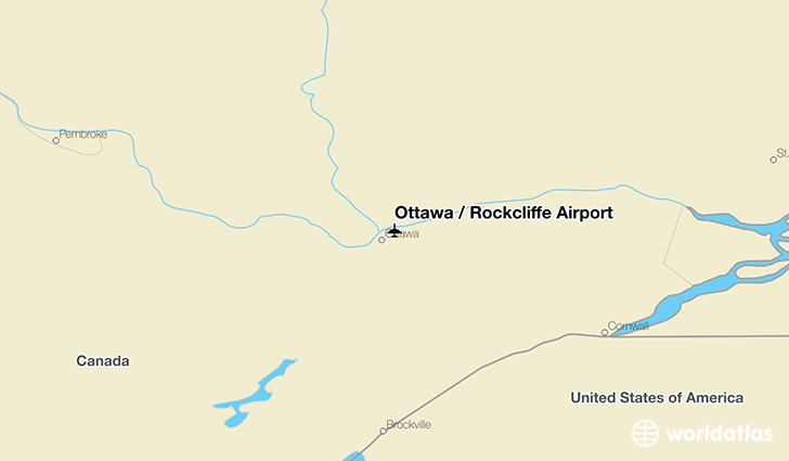 Ottawa / Rockcliffe Airport location on a map