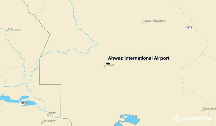 Ahwaz International Airport location on a map