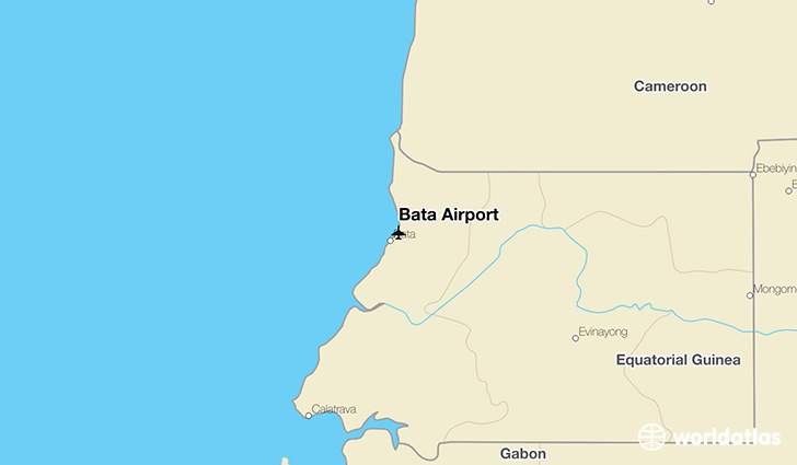 Bata Airport location on a map