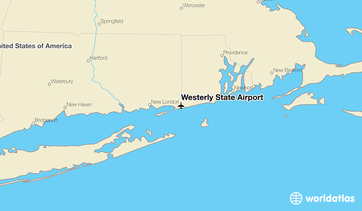 Westerly State Airport location on a map