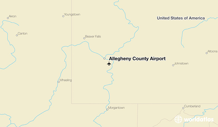Allegheny County Airport location on a map
