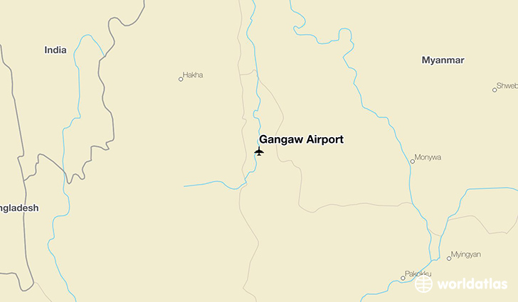 Gangaw Airport location on a map