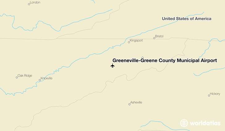 Greeneville-Greene County Municipal Airport location on a map