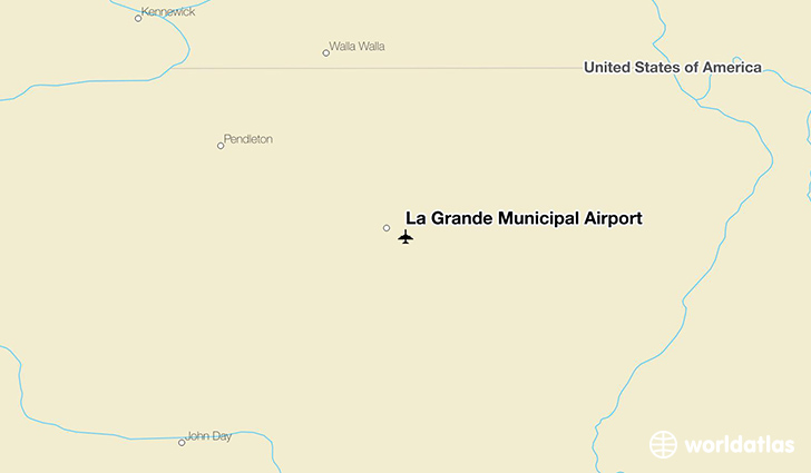 La Grande Municipal Airport location on a map