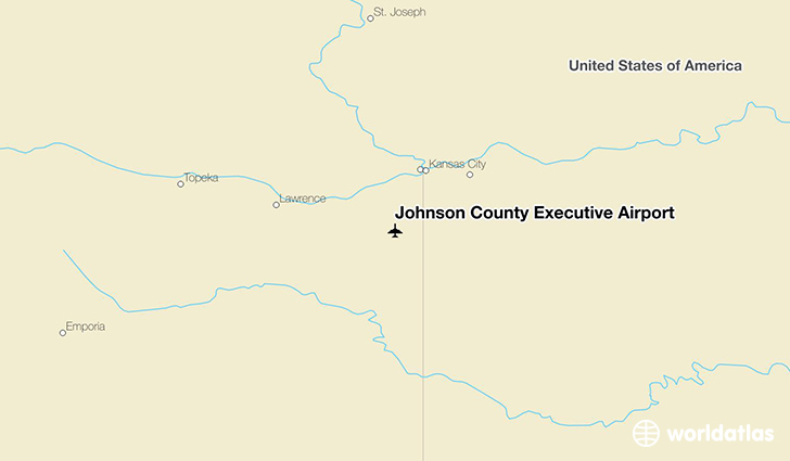 Johnson County Executive Airport location on a map