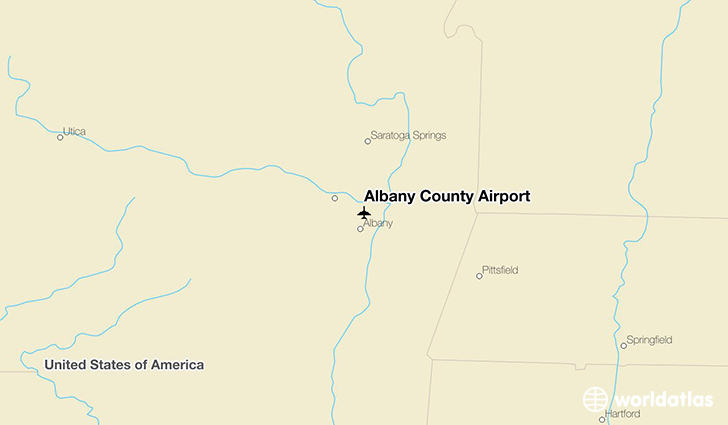 Albany County Airport location on a map