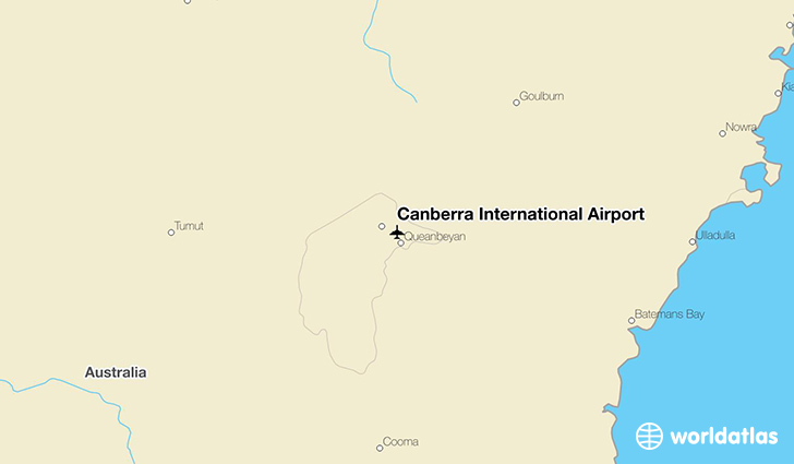 Canberra International Airport location on a map