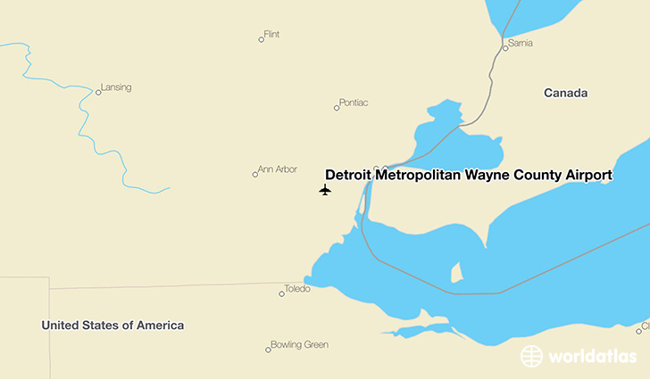 Detroit Metropolitan Wayne County Airport location on a map