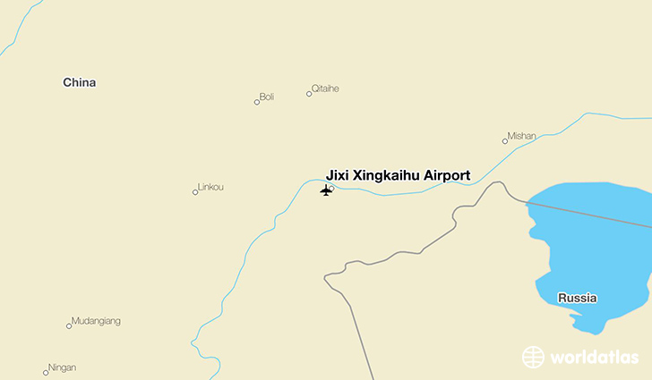 Jixi Xingkaihu Airport location on a map