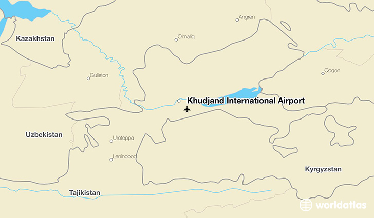Khudjand International Airport location on a map