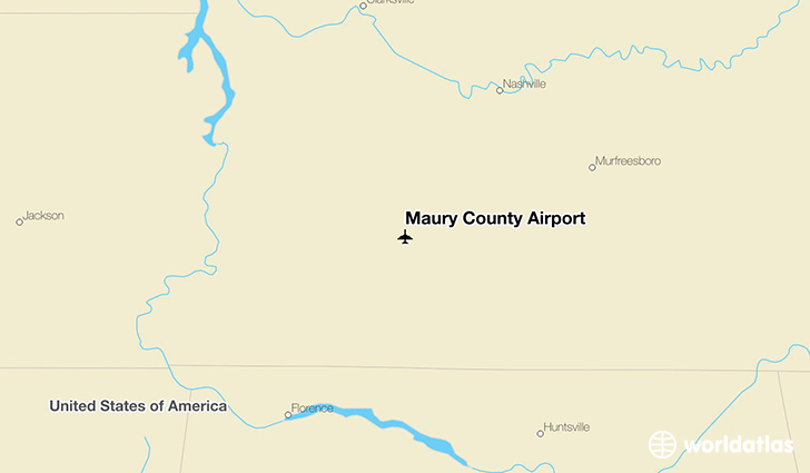 Maury County Airport location on a map