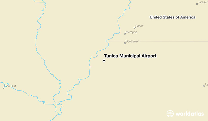 Tunica Municipal Airport location on a map