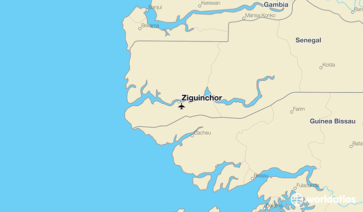 Ziguinchor location on a map