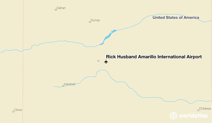 Map Of Texas Amarillo.Rick Husband Amarillo International Airport Ama Worldatlas