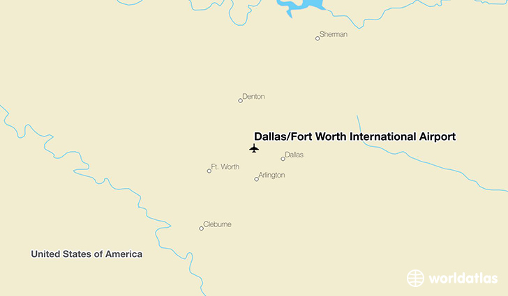Dallas/Fort Worth International Airport location on a map