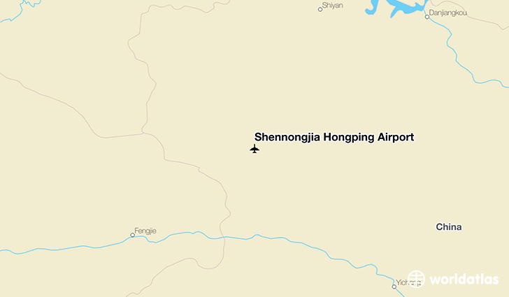 Shennongjia Hongping Airport location on a map