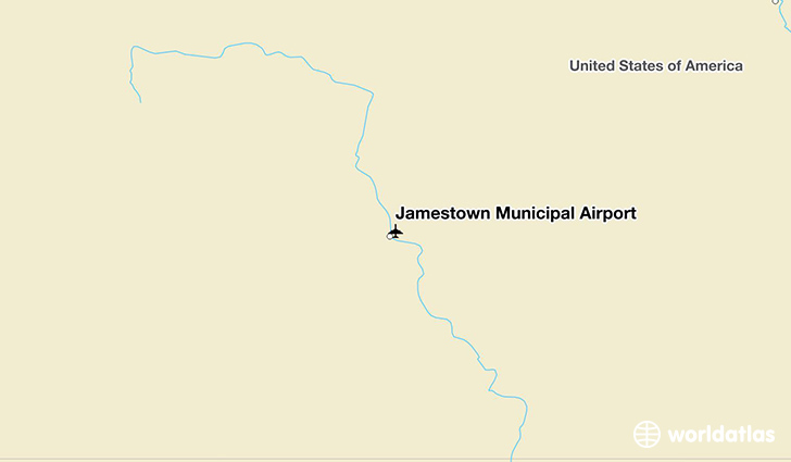Jamestown Municipal Airport location on a map