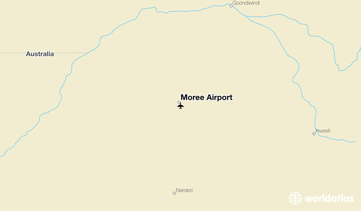 Moree Airport location on a map