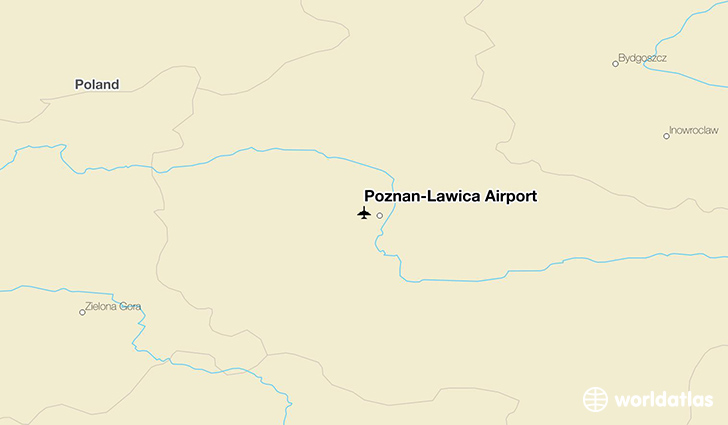 Poznań-Ławica Airport location on a map