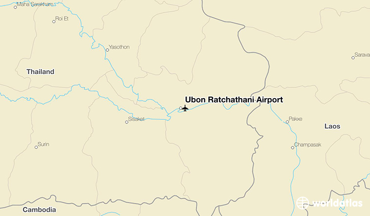 Ubon Ratchathani Airport location on a map