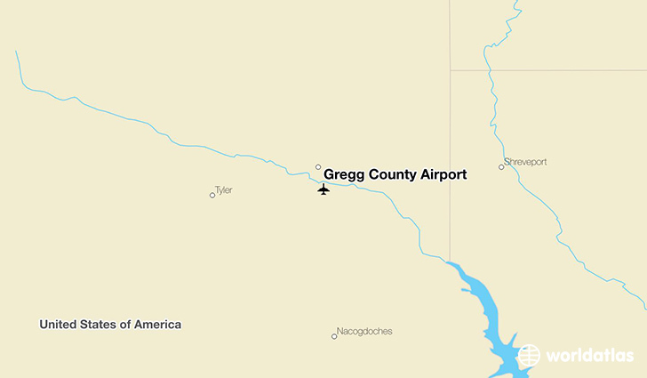 Gregg County Airport location on a map