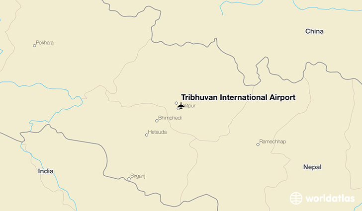 Tribhuvan International Airport location on a map