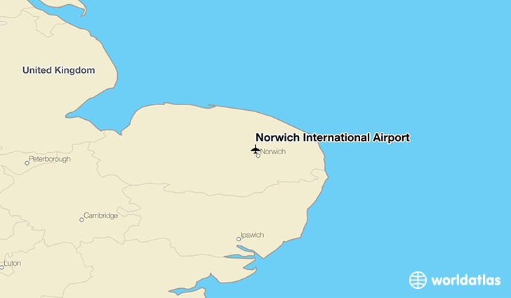 Norwich International Airport location on a map