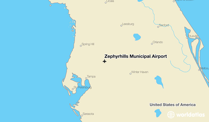 Zephyrhills Municipal Airport location on a map