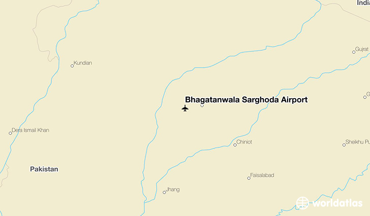 Bhagatanwala Sarghoda Airport location on a map