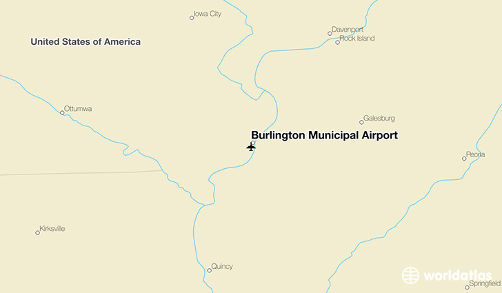 Burlington Municipal Airport location on a map