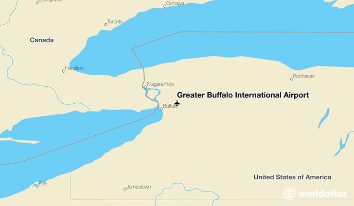Greater Buffalo International Airport location on a map