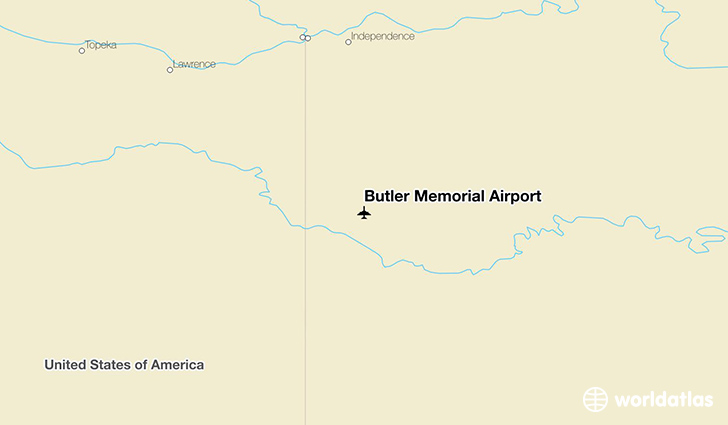 Butler Memorial Airport location on a map