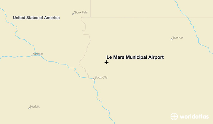 Le Mars Municipal Airport location on a map