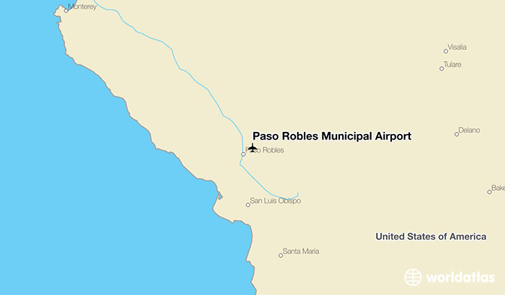 Paso Robles Municipal Airport location on a map
