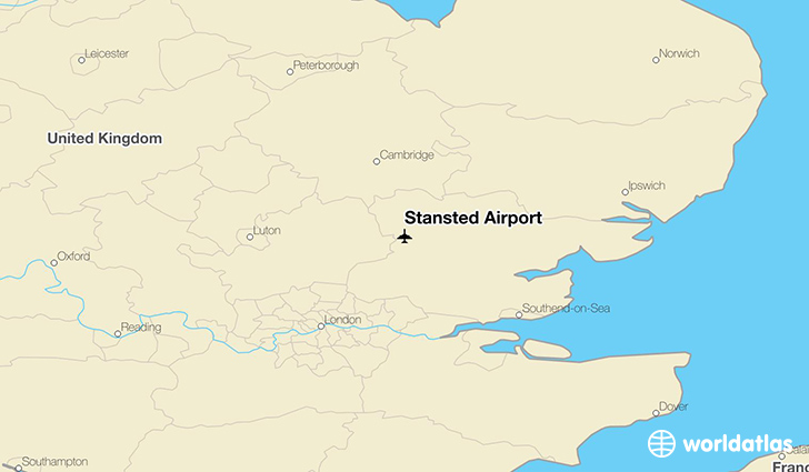 Stansted Airport location on a map
