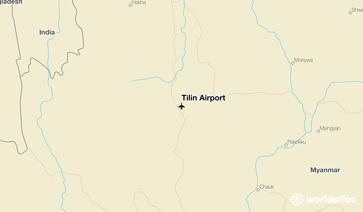 Tilin Airport location on a map