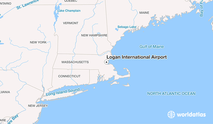 Logan International Airport location on a map