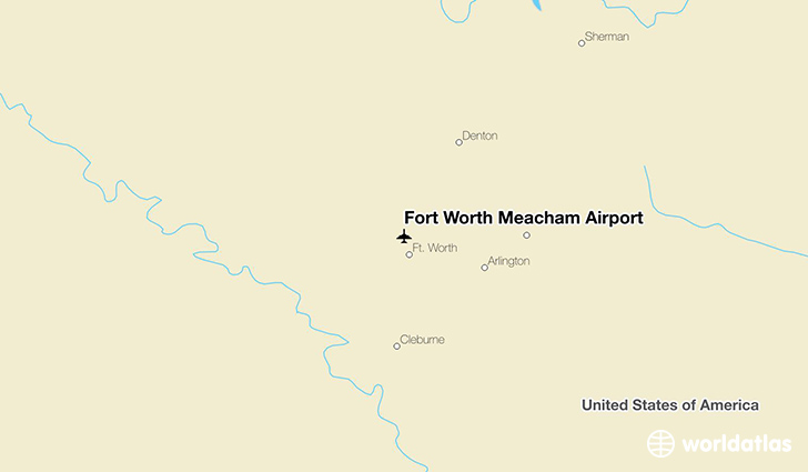 Fort Worth Meacham Airport location on a map