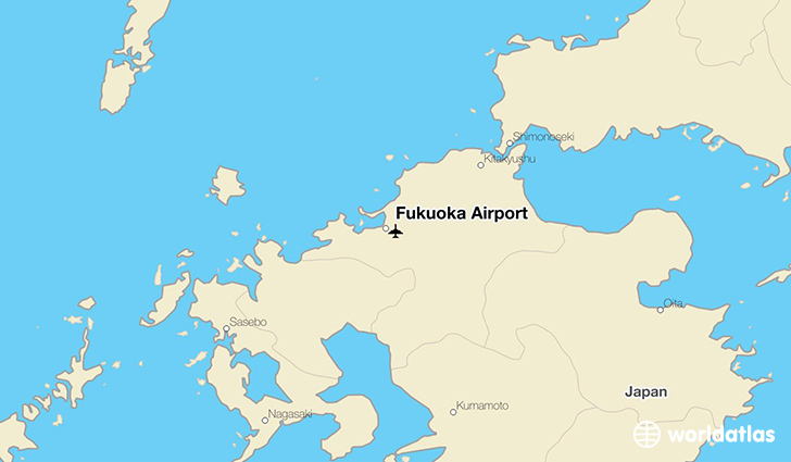 Fukuoka Airport location on a map